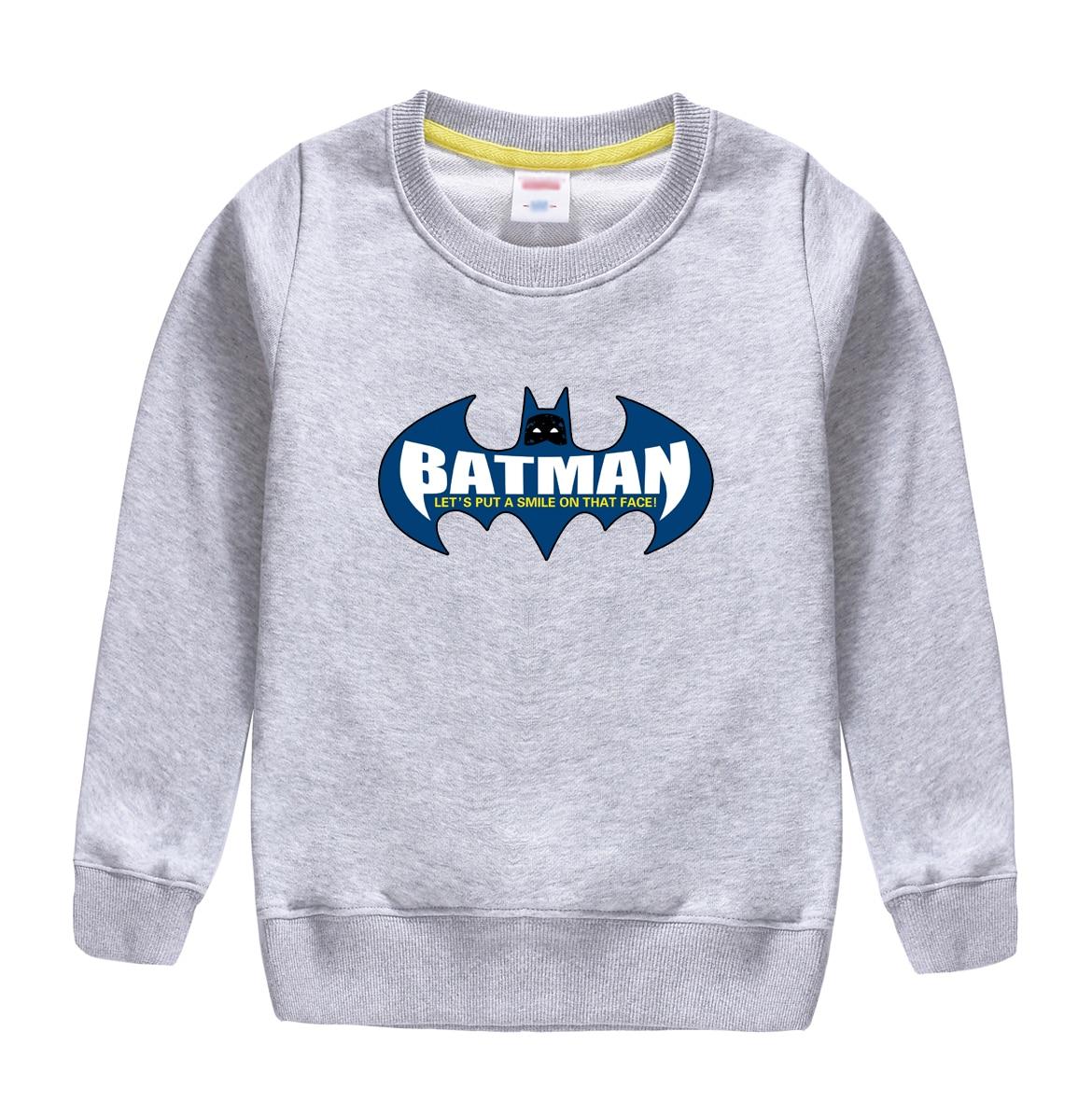BATMAN pattern printed childrens hooded clothing winter autumn sweatshirt design for 4-13 t kids top soft t-shirts