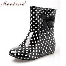 Meotina zapatos de las mujeres botas de lluvia del tobillo patea los zapatos de moda puntera redonda tacones Botas de Primavera Verano de Lunares de Gran Tamaño 34 43 9 10