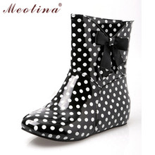 Meotina schuhe frauen regen stiefel stiefeletten schuhe mode runde kappe niedrigen Heels Stiefel Sommer Polka Dot Große Größe 34 43 9 10