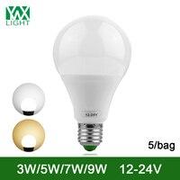 YWXLight 5/ถุงE27ประหยัดพลังงานโคมไฟหลอดไฟ3วัตต์7วัตต์9วัตต์LEDหลอดไฟDC 12โวลต์24โวลต์นำหลอดไฟใช้โคมไฟร...