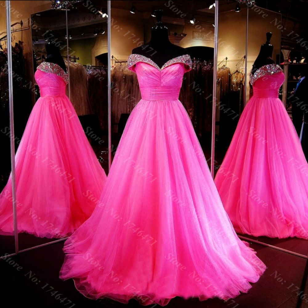 Luxuries Generous 2016 Elegant Ball Evening Gown V-Neck Crystal Backless Rose Party Evening dress for women
