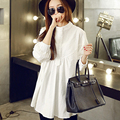 2015 Maternity Clothing Spring And Autumn Stand Collar Long-Sleeve Pressure Pleated One-Piece Dress Maternity Basic Shirt Cotton