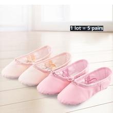 Chaussures professionnelles pour enfants, filles, en toile de coton, douces pour la pratique du Ballet