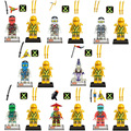 16 pçs/set figuras building blocks define china marca versão dupla jr783b ouro phantom ninja compatível com lego