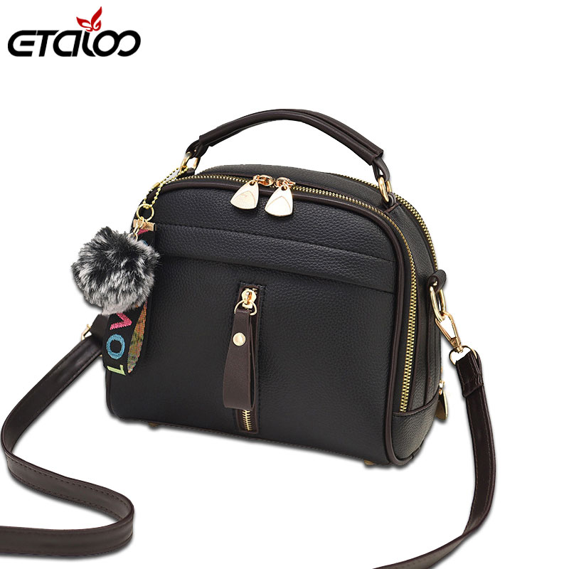 2018 Fashion Women Handbag PU Leather Women Messenger Bags With Ball Toy Female Shoulder Bags Ladies