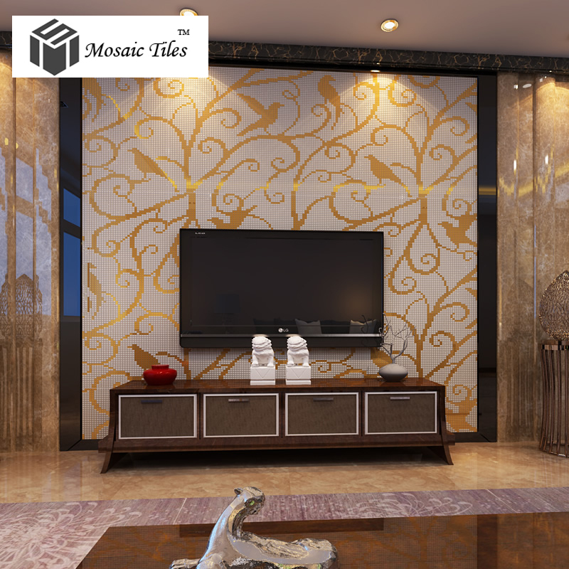 Magpie Pattern Mosaic Bisazza Style Customized Wall Mosaics Hotel