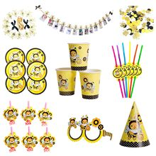 6pcs/set Bee Theme Party Disposable Tableware Set Kids Birthday Party Decoration Paper Cup Hat Plate Banner Straw Supplies(China)