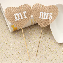 Mini MR & MRS Table Message Heart Tag Place Card Holder Wedding Decor(China)