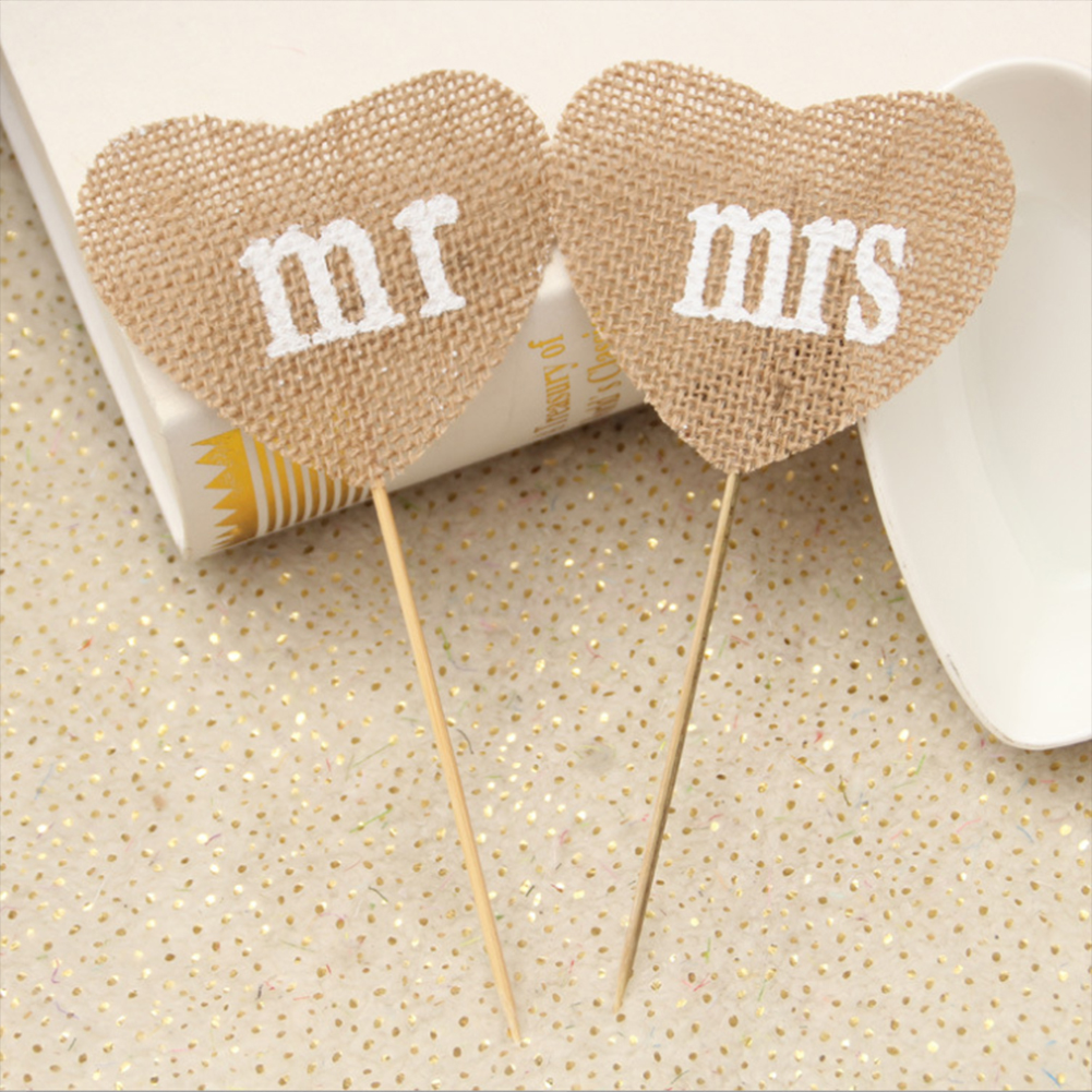 Mini MR & MRS Table Message Heart Tag Place Card Holder Wedding Decor