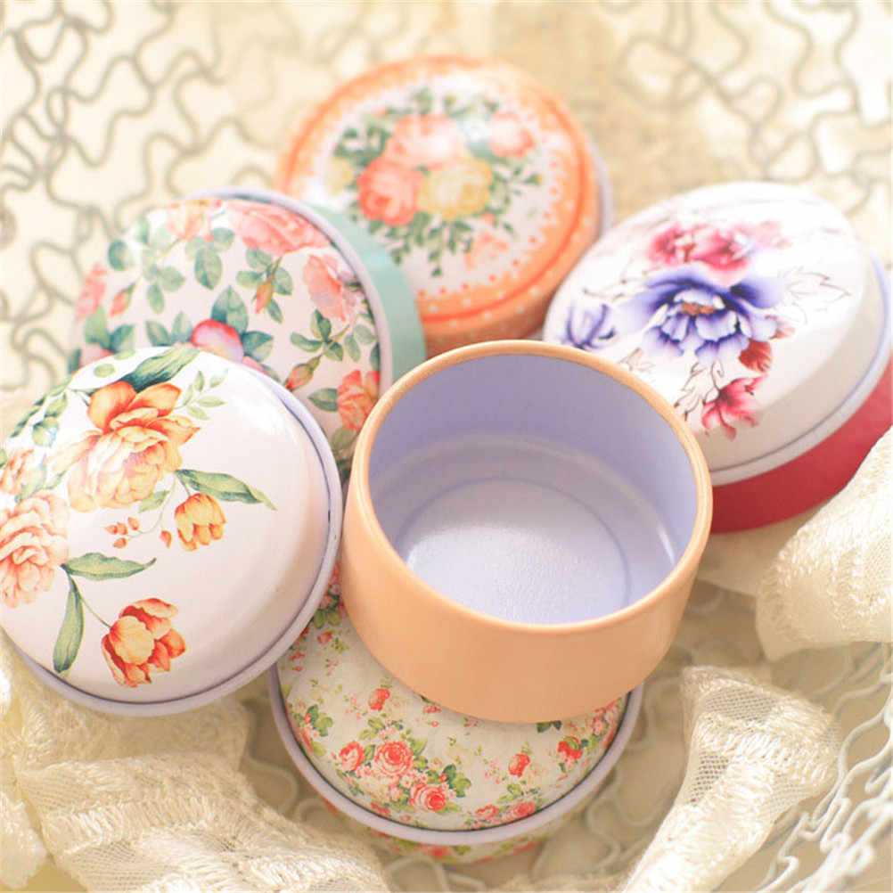 New Retro Flowers Tea Caddy Receive Box Europe type style Box Wedding Favor Tin Box Candy box Organizer Container