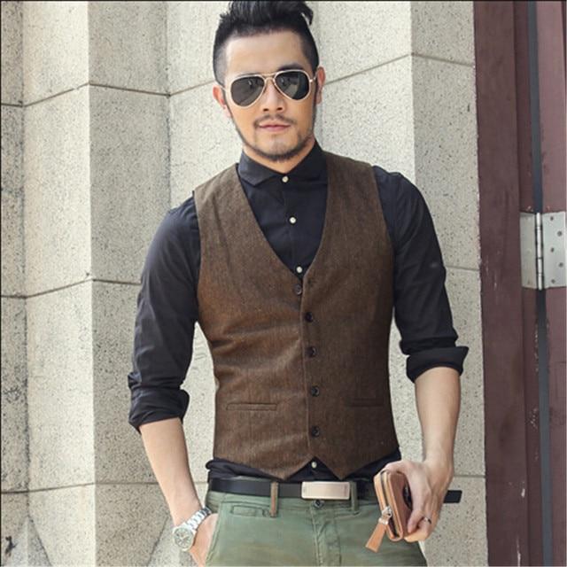 Fashion Vest Male Woolen Men S Clothing Slim Fit Vest Men Winter Casual  Vintage Style Sleeveless Shirt de7ff1ad8d67