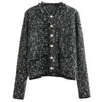 2018 spring/autumn designer women knitted jacket slim outerwear luxury sweater pearl button tassel cardigan runway high end