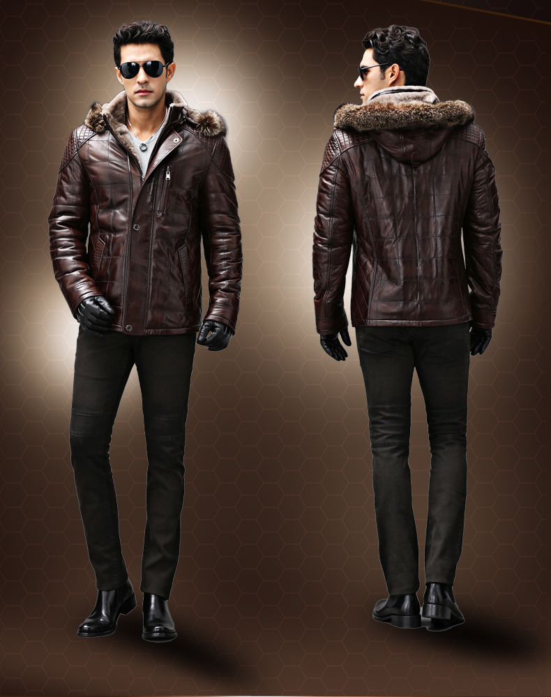 New Hanmiis fur one piece male sheepskin raccoon fur leather jacket outerwear genuine leather coat with leather gloves
