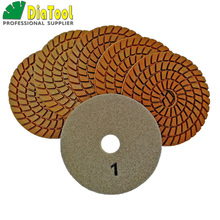 цена на DIATOOL 6pcs 4 inch Five Step Diamond Wet Polishing Pads Diameter 100mm Resin Bond Sanding Disc Polisher Disc Polishing Disc