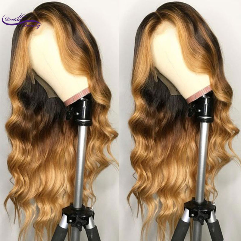Brazilian Remy Hair Lace Front Wig Wavy Ombre Blonde Highlights Color 180% Density Middle Part Pre Plucked Dream Beauty(China)