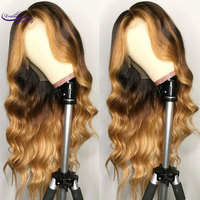 Brazilian Remy Hair Lace Front Wig Wavy Ombre Blonde Highlights Color 180% Density Middle Part Pre Plucked Dream Beauty