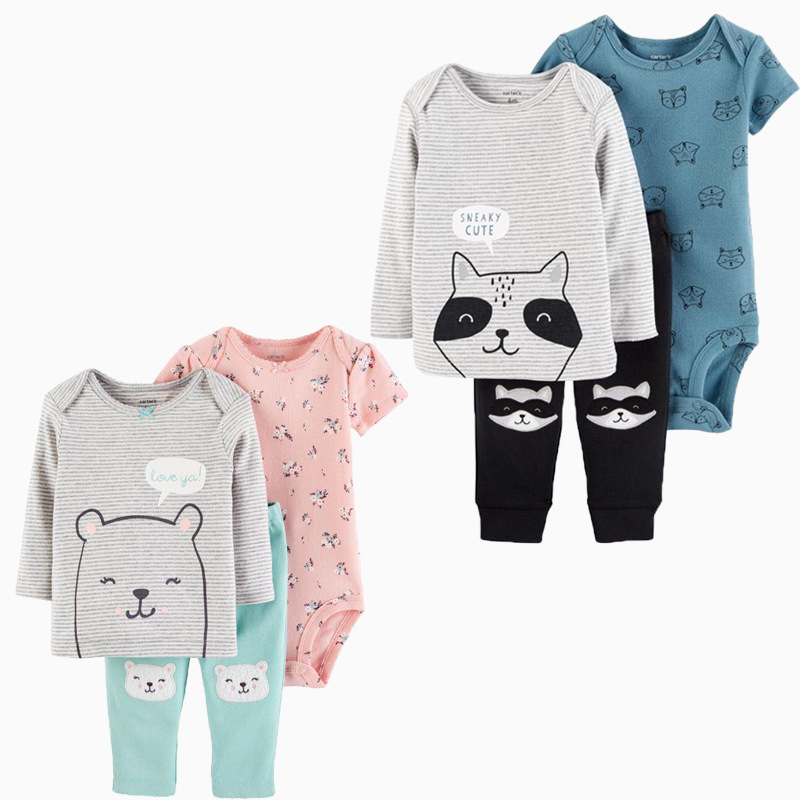 XINI MOMMY Unisex Spring Outfits Kids Cotton Fashion Outfit Sets  Regular  Kids Clothing Casual Kids Costume Animal Clothes ALI5