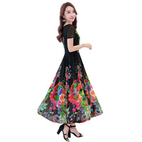 2019 New Plus Size 4XL Summer Women Short Sleeved Chiffon Print Dress Female Bohemia Floral Long Dress Beach Dress XY896