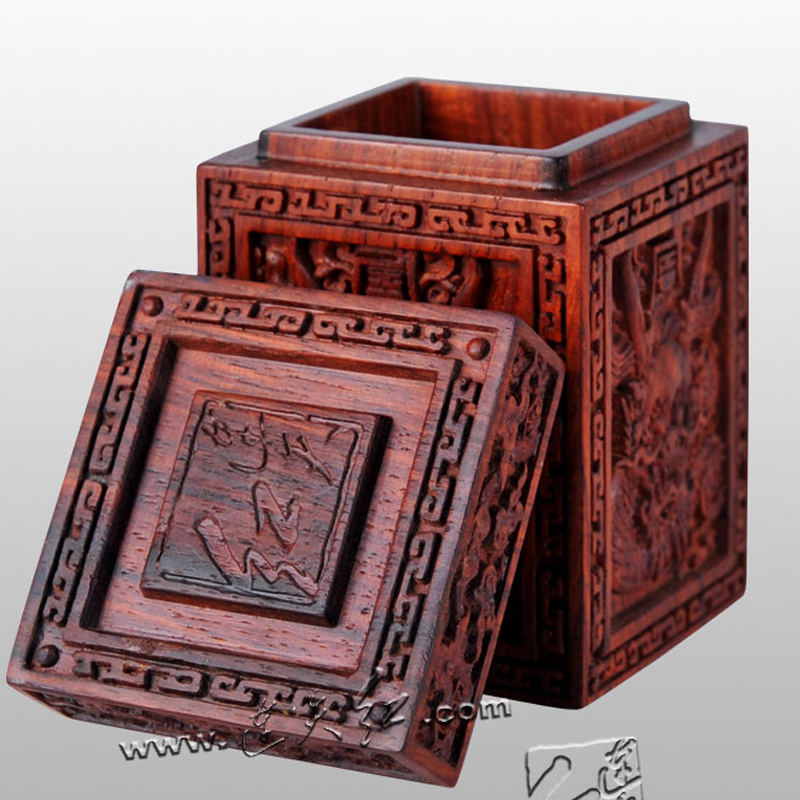 Household Living Room Desk Decoration Carvings Rosewood top-grade Toothpick Holder Portable Storage Box Mahogany Solid Wood Tube