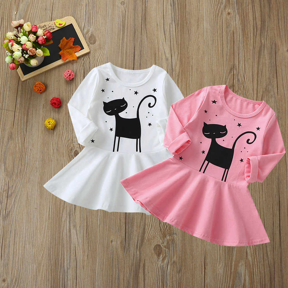 b10a316379f7f54 С длинным рукавом Осеннее платье для девочек с рисунком кота для малышей  платье принцессы для малышей