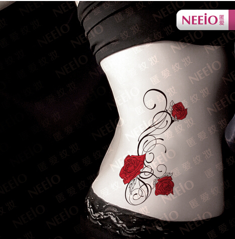 Red Rose Flowers And Vines Tatoo Stickers Temporary Tattoo Men Women