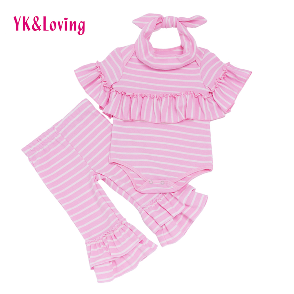 Autumn Baby Girls Clothing sets Newborn Pink Stripe Ruffle Cotton Short Sleeve Girl Romper Pant 3pcs Suit Children Costume 2017 new fall mustard yellow children sets ruffle butterfly sleeves infants clothing baby girl nursing accessory apparel