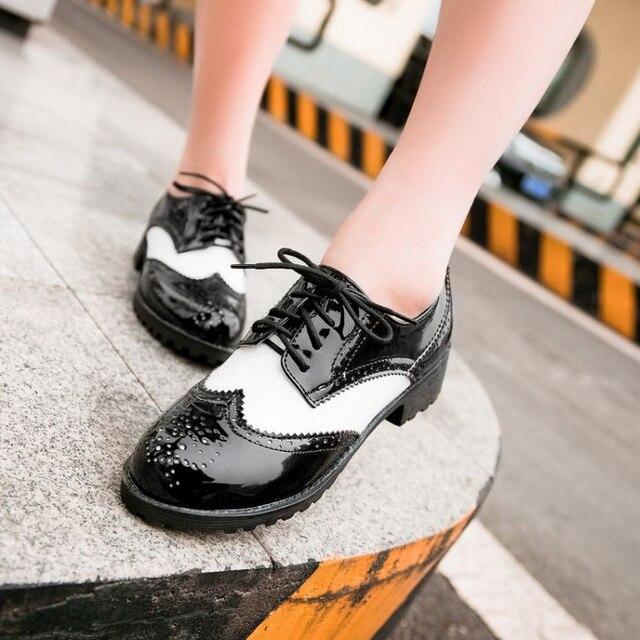 05ed2ab6e53 2015 hot Vintage estilo británico zapatos de cuero japanned
