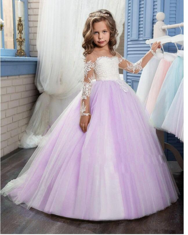 Girls Wedding Formal Dresses 2018 Longsleeve Lace Gauze Catwalk Birthday Flowers Girls Princess Dress Kids Long Party Prom Dress girls wedding formal dresses 2018 lace tailing catwalk gauze prom ball gown flowers girls princess dress kids long party dress