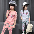 children's clothing new fashion spring and autumn girls set 2pcs girls sports sweatshirt kids clothes4-14Y