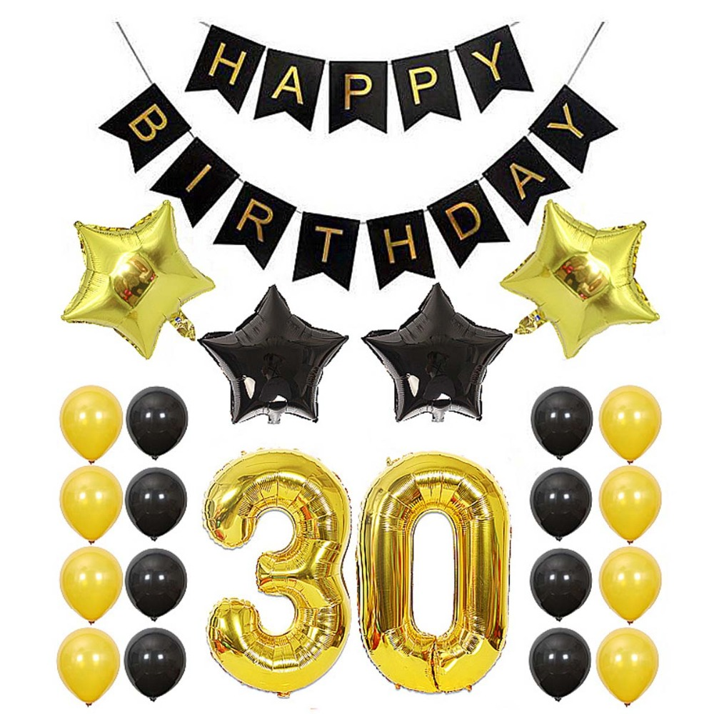 35pcs 18th 30th 40th 50th 60th Happy <font><b>30</b></font> Birthday Banner Bunting Balloons Set Anniversary Birthday <font><b>Decoration</b></font> Kits Party Supplies image