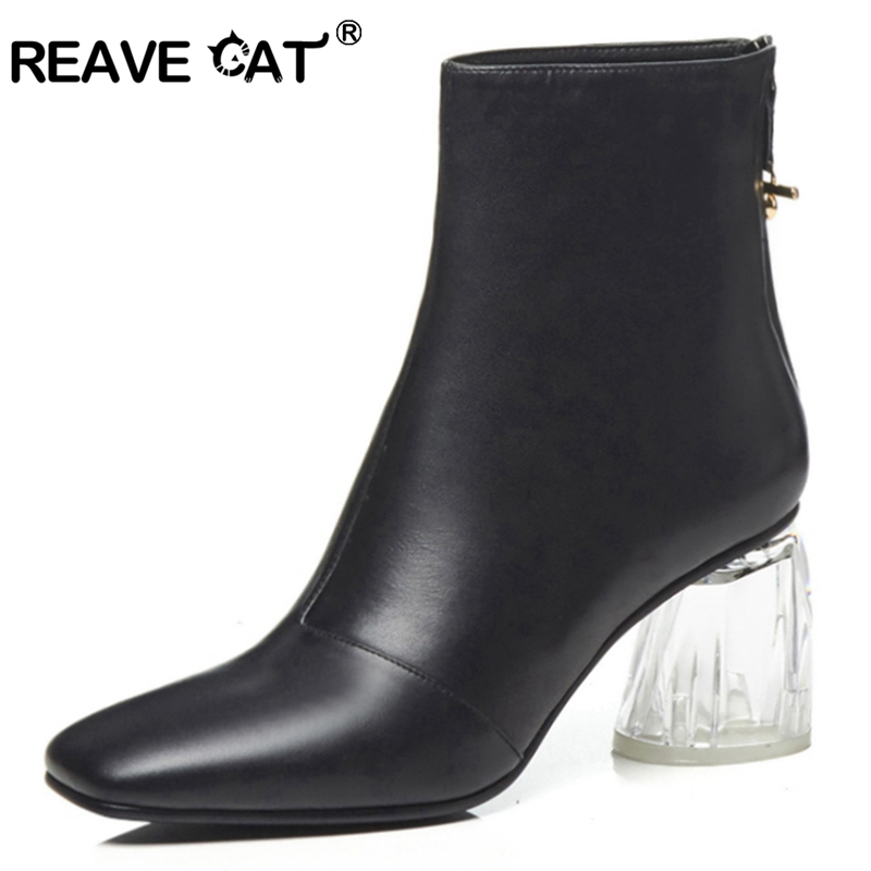 Pu Pour Pointu Talon Zipper Chaussures Transparent Femmes Cuir black Flock Leather Qualité En Femme Chat Reave Noir Véritable De Vache black Fur Pu Black A1472 Haute Bottines q0TZFwnO