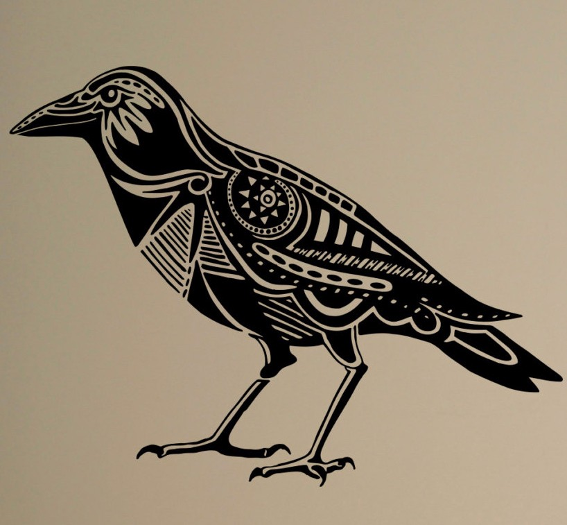 Raven Wall Decal Bird Crow Vinyl Sticker Animals Art Decor ...