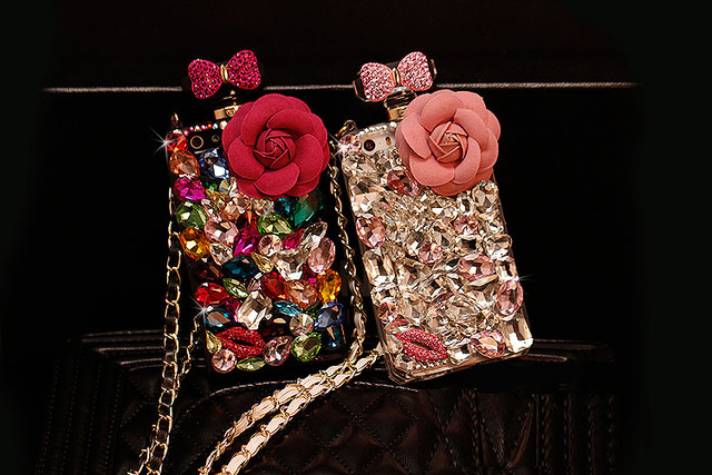 Colourful Flower Perfume Bottle Case For iPhone / Samsung
