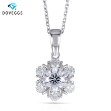DovEggs 18K 750 White Gold 1.6CTW Center 6.5MM F Color Mossanite Flower Shaped Pendant Necklace for Women Wedding Gift