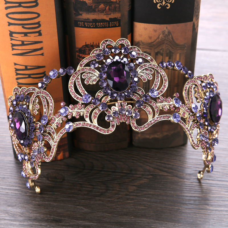 Luxury Vintage Gold Wedding Crown Alloy Bridal Tiara Baroque Queen King Crown Purple Crystal Tiara Crown crown crown xti1002