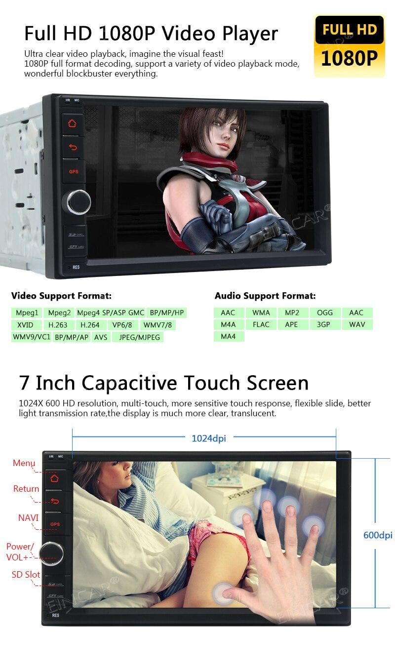Pojemnościowy ekran dotykowy podwójne 2 Din Radio samochodowe Stereo wsparcie Bluetooth 1080 P Mirrorlink Auto GPS główny panel nawigacji + kamera