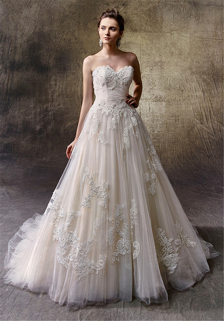 A Line Softly Ruched Tulle Strapless Gorgeous Beaded Lique Lace Dark Ivory Wedding Dress Crystal