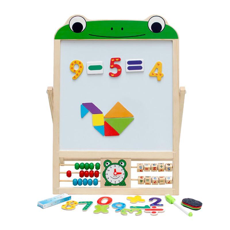 1 Stks Kleine Art Houten Educatief Dubbelzijdige Magnetische Schoolbord Speelgoed Voor Geschenken Vroegschoolse Onderwijs Kinderen Schoolbord Speelgoed