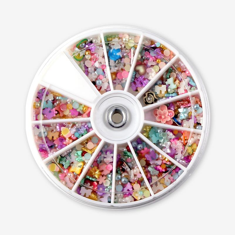 MIX Design Colorful Pearl Nail Art Tips Studs Glitter Wheel 3D Floral Bow Butterfly Nails Decoration ZP059 rhinestone bow 3d art resin nail decoration 60pcs mix candy color cute bowknot nails tip accessories phone decoration