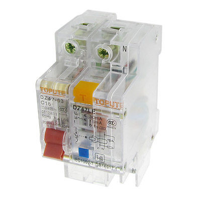 AC 230V 400V 16A 1P+N Transparent Residual Current Circuit Breaker RCCB