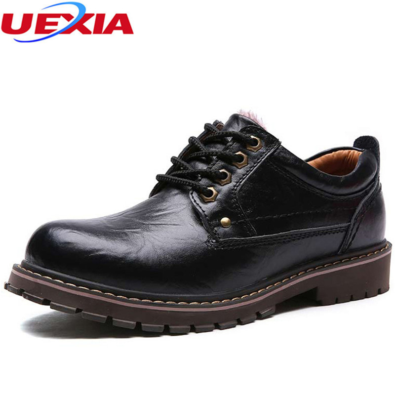 Cow Leather Men Shoes Winter Super Warm Rabbit Fur Velvet Cow Fashion Lace Up Black Lined Oxford Dress Shoes Men Working Safety hot sale new arrival winter warm fur inside men casual shoes oxford genuine leather lace up high style youth ankle man shoes