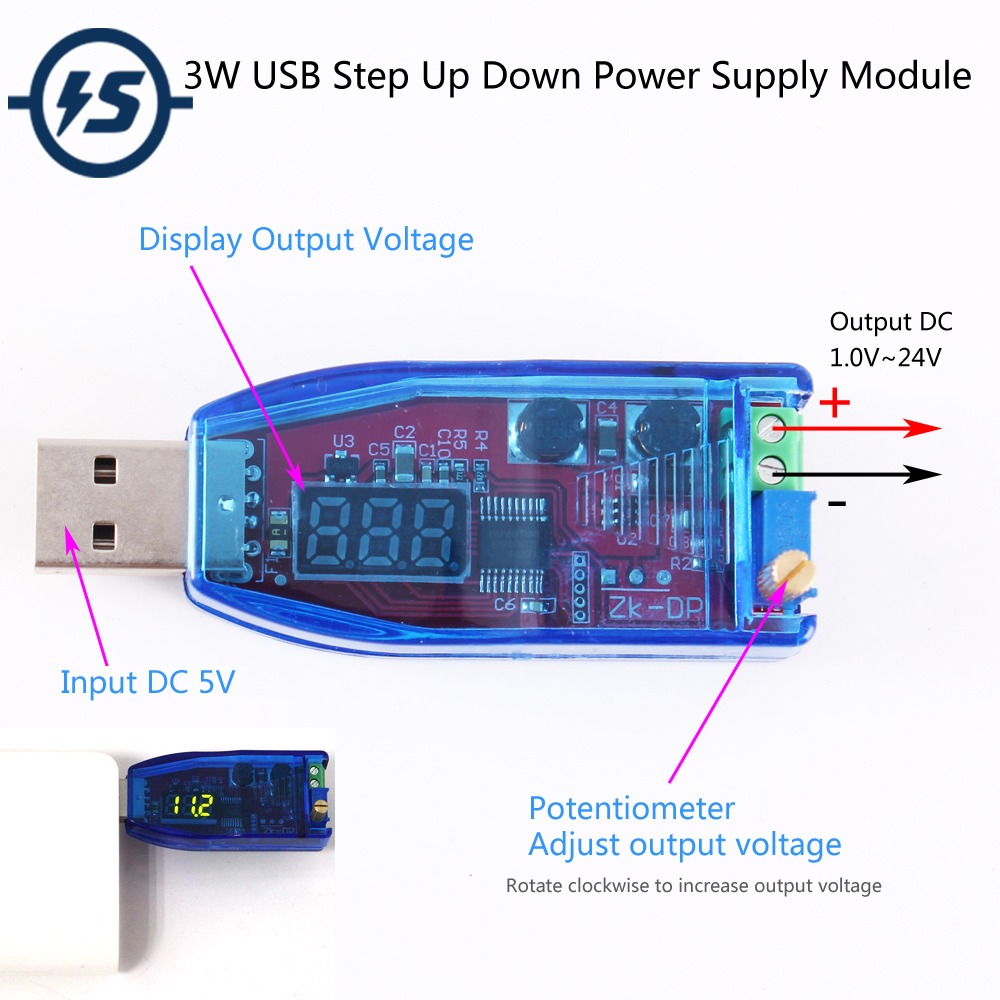 Grün DC-DC 5 V zu 3,3 V 9 V 12 V 24 V USB Step UP/Down Power Versorgung modul Einstellbar Boost-Buck Converter Aus DC 1,0 V-24 V
