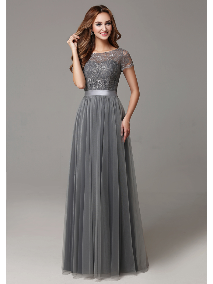 2017 Grey Long Modest Lace Tulle Floor Length Women Bridesmaid Dresses Short Sleeves Sheer