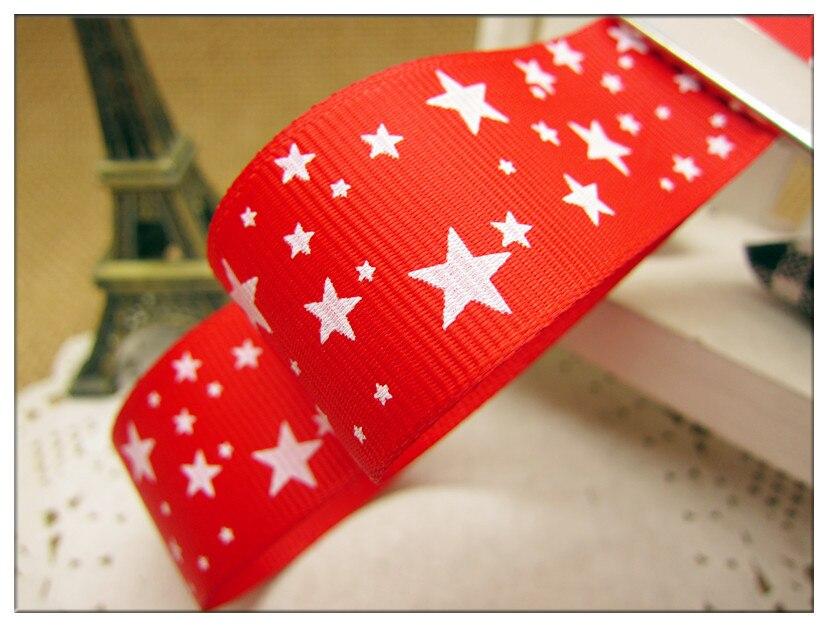 Бесплатная доставка 1 «(мм 25 мм) ширина, звезда печатных красная лента grosgrain Персонализация ленты, xx007