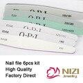 Varejo Lixas de Unha Nova 6 pçs/set Nail Art Arquivo Amortecedor Do Prego lixa Magro kit Set 6 estilos Disponíveis Prego Pedicure Manicure ferramentas