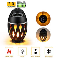 Mini USB Charge Bluetooth Speaker Led Flame Light Outdoor Portable Atmosphere Led Night Lamp Waterpoof Bluetooth Stereo Speaker