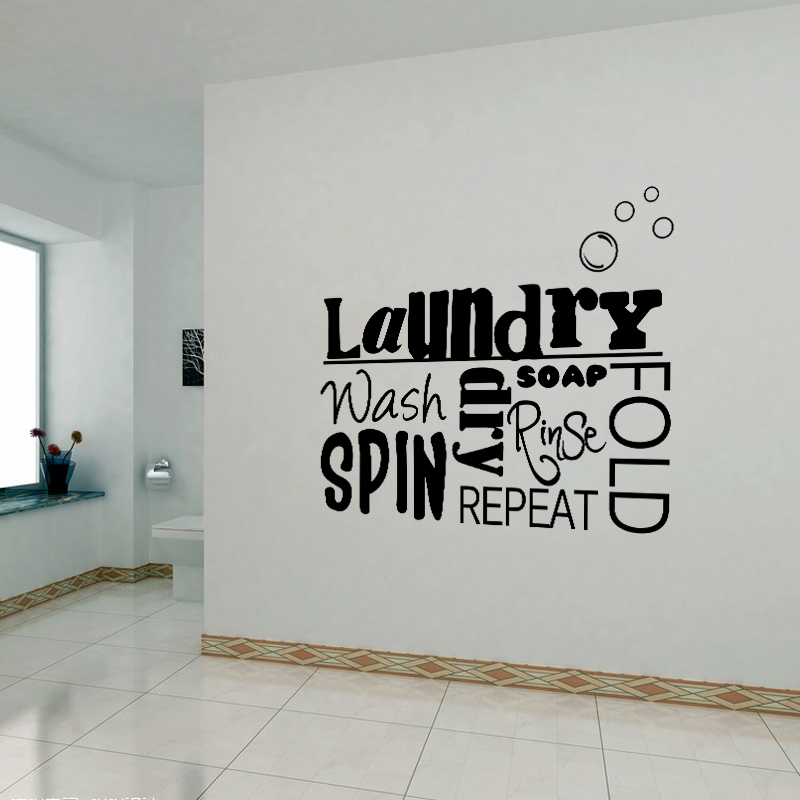 DIY Vinyl Wall Stickers Laundry Room Mural Wall Decals ... on Room Decor Stickers id=56457