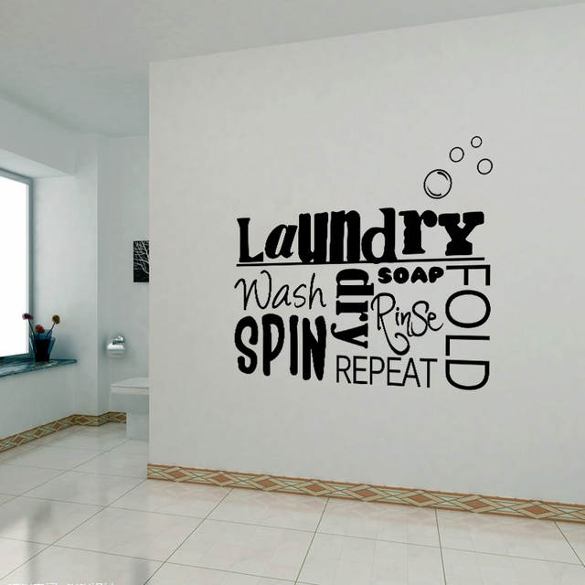 US $5.91 26% OFF|DIY Vinyl Wall Stickers Laundry Room Mural Wall Decals  Removable Wallpaper Home Decor House Decoration Wall Art Poster 45X55cm-in  ...