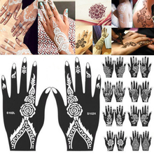 2PCS India Henna Temporary Tattoo Stencils For Hand Leg Arm Feet Body Art Decal