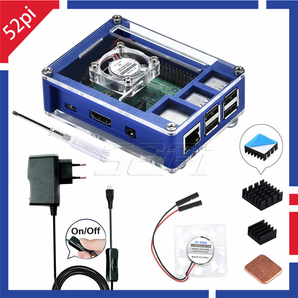 52Pi Acrylic Plastic Blue & Transparent Case with Optional 5V 2.5A Power Adapter, for Rasberry Pi 3B+ / 3B Plus (Not Include)